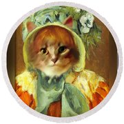 Cat In Bonnet Round Beach Towel