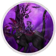 Cat In Goth Witch Hat Round Beach Towel