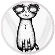 Cat In The Glasses Round Beach Towel
