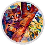 Cat In Tree Round Beach Towel