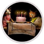 Cat - It's Our Birthday - 1914 Round Beach Towel