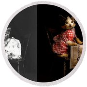 Cat - It's Our Birthday - 1914 - Side By Side Round Beach Towel