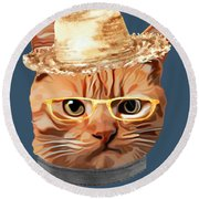 Cat Kitty Kitten In Clothes Yellow Glasses Straw Round Beach Towel