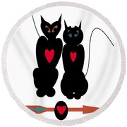 Cat Love Round Beach Towel