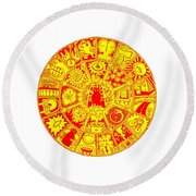 Cat Mandala Yellow And Red Round Beach Towel