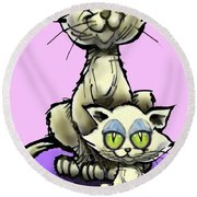 Cat N Kitten Round Beach Towel