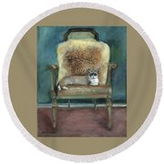 Cat On A Chair Round Beach Towel