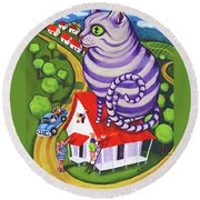 Cat On A Red Tin Roof Round Beach Towel