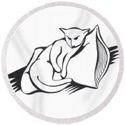Cat On Pillow Round Beach Towel