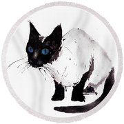 Cat Painting Round Beach Towel