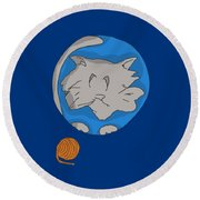 Cat Planet Round Beach Towel