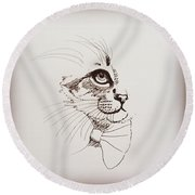 Cat Wearing A Bow Tie Round Beach Towel