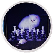 Cat With Chess Board Anbd Mouse Round Beach Towel