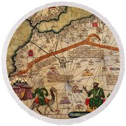 Catalan Map Of Europe And North Africa Charles V Of France In 1381  Round Beach Towel by Abraham Cresques