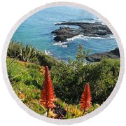 Catalina Island Coastline Round Beach Towel