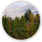 Catalina Mountains In The Fall Round Beach Towel