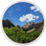 Catalina Mountains In Tucson Arizona Round Beach Towel
