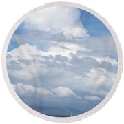 Catamaran Beach Clouds Round Beach Towel