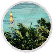 Catamaran On Tumon Bay Round Beach Towel