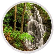 Cataract Falls In Great Smoky Mountains National Park Round Beach Towel