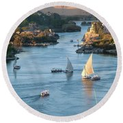 Cataracts Of The Nile Round Beach Towel