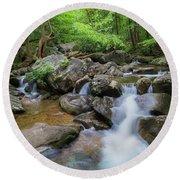 Catawba Stream In Pisgah National Forest Round Beach Towel