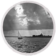 Catboat In Barnstable Harbor Round Beach Towel