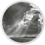 Catboats Sailing In Barnstable Harbor Round Beach Towel