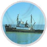 Catch Boat Allen Cody For Del Monte Fishing Co. Taken On July 5  Round Beach Towel