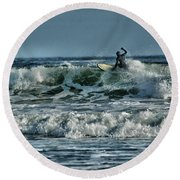 Catching A Wave Round Beach Towel