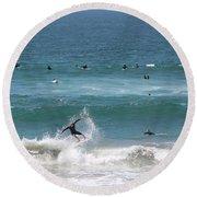Catching Air In Huntington Beach California Round Beach Towel