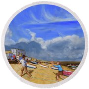 Catching The Ball, St Ives Round Beach Towel