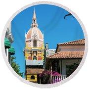 Catedral De Cartagena Round Beach Towel