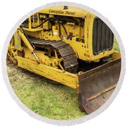 Caterpillar D2 Bulldozer 01 Round Beach Towel
