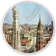 Cathedral And Campanile Milan Italy Round Beach Towel