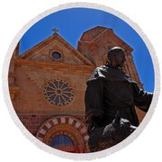 Cathedral Basilica In Santa Fe Round Beach Towel
