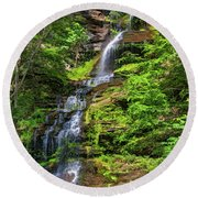 Cathedral Falls 2 - Paint Round Beach Towel