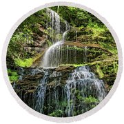 Cathedral Falls 4 - Paint Round Beach Towel