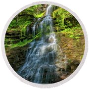 Cathedral Falls - Paint Round Beach Towel