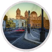 Cathedral From Campo Del Sur Cadiz Spain Round Beach Towel