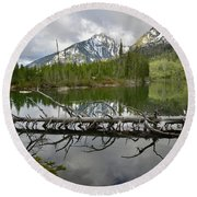 Cathedral Group Reflection On String Lake Round Beach Towel