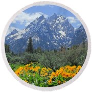 Dm9328-cathedral Group Tetons  Round Beach Towel