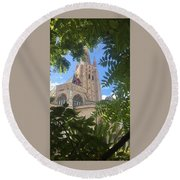 Cathedral In Brugge Round Beach Towel