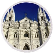 Cathedral In El Salvador Round Beach Towel