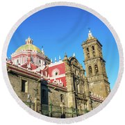 Cathedral In Puebla, Mexico Round Beach Towel