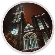 Cathedral In The Mist Round Beach Towel