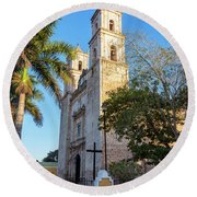 Cathedral In Valladolid Round Beach Towel