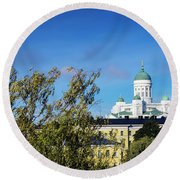 Cathedral Landmark And Central Helsinki View In Finland Round Beach Towel