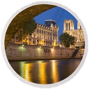 Cathedral Notre Dame And River Seine - Paris Round Beach Towel