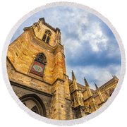 Cathedral Of Colmar, Alsace,france Round Beach Towel